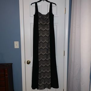 Long Black and Cream Lace Cocktail Dress